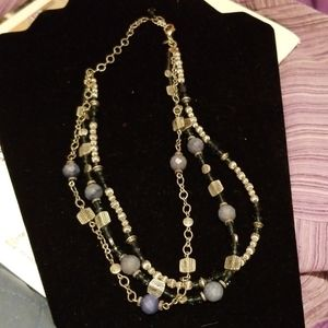 Necklace,  silver with blue and silver beads